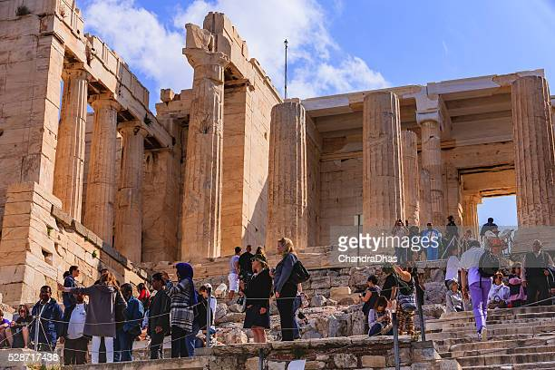 Athens, Greece - Tourists at the Acropolis