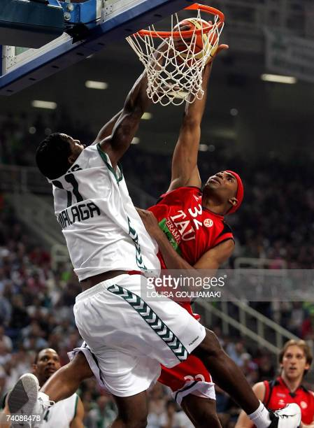 Unicaja's Malaga Florent Pietrus tries to stop Tau Ceramica Fred House during their Euroleague basketball Final Four match for the third place at the...