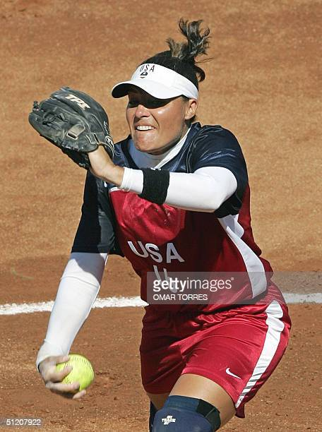 US pitcher Lisa Fernandez throws to the plate in the first inning against Australia during the gold medal softball competition of the Olympic Games...