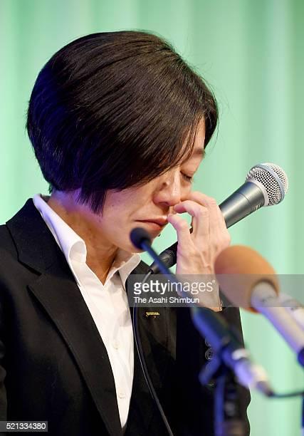 Athens Olympic Women's Marathon gold medalist Mizuki Noguchi attends a press conference on her retirement on April 15 2016 in Kobe Hyogo Japan