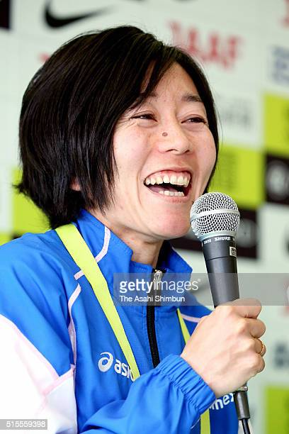 Athens Olympic Women's marathon gold medalist Mizuki Noguchi speaks during a press conference after competing in the Nagoya Women's Marathon at the...