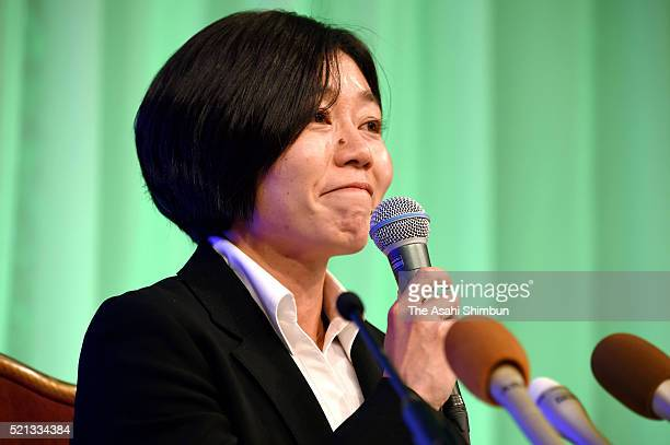 Athens Olympic Women's Marathon gold medalist Mizuki Noguchi speaks during a press conference on her retirement on April 15 2016 in Kobe Hyogo Japan