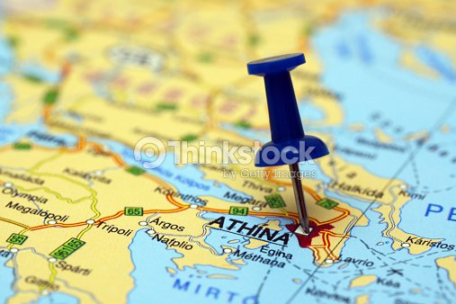 Athens Pinned On A Map Of Europe Stock Photo Thinkstock