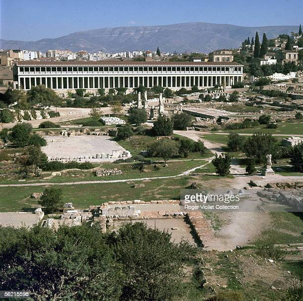 Athens The Agora and the Stoa of Attale On the foreground the temple of Apollo Patros and in front the temple of Ades