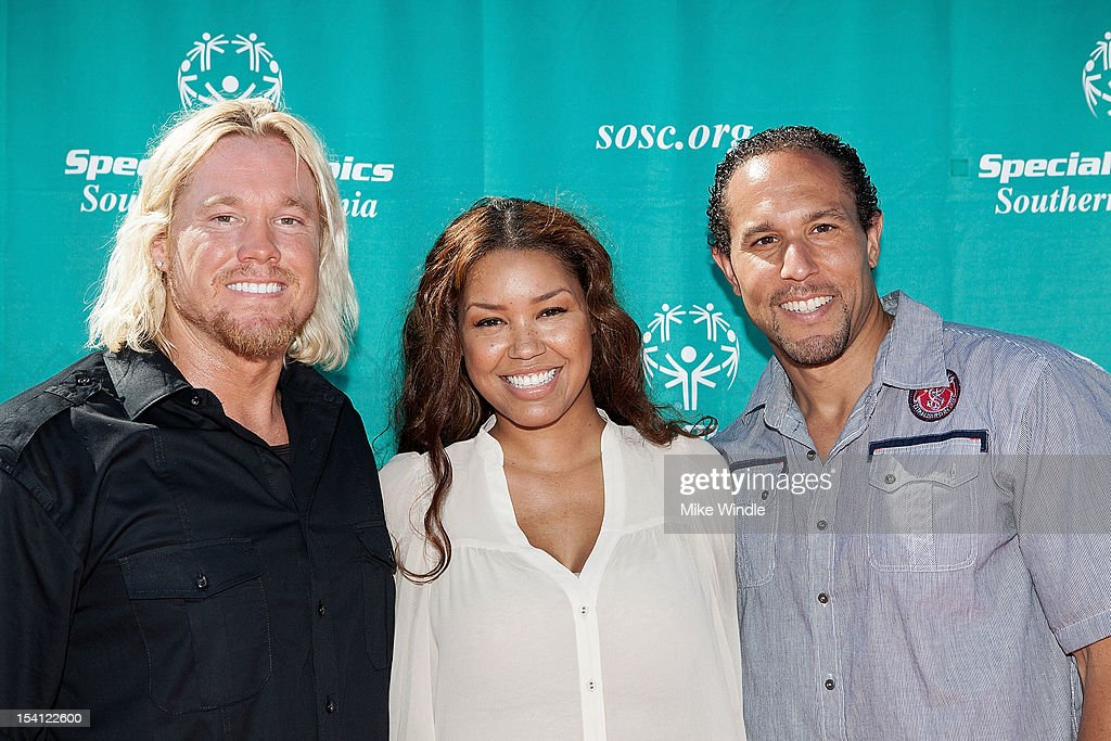 Athete Breaux Greer, actress Raquel Bell and Josh Johnson pose during the Special Olympics Southern California 14th Annual Pier Del Sol Event at Santa Monica Pier on October 14, 2012 in Santa Monica, California.