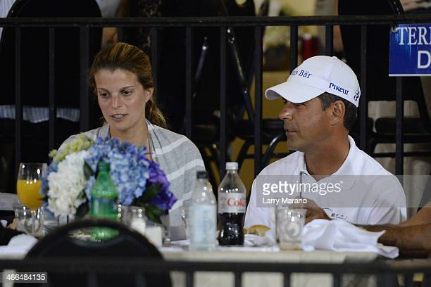Athina Onassis and Roussel De Miranda are sighted at Palm Beach International Equestrian Center on February 1 2014 in Wellington Florida