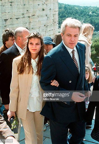 Athina Onassis granddaughter of Greek shipping tycoon Aristotle Onassis and her father Thiery Russel visit of Acropolis March 22 1998 in Athens...