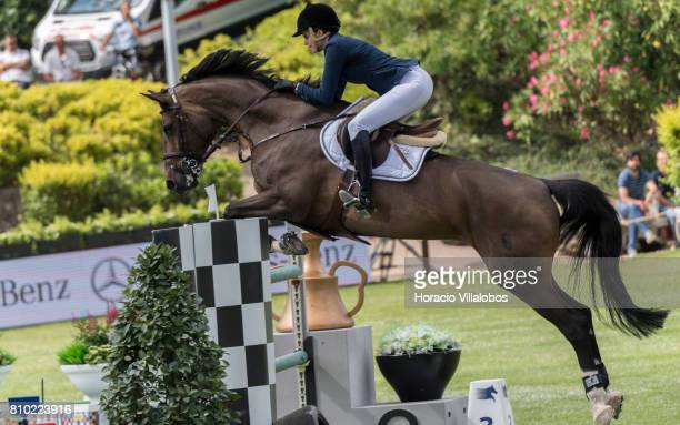 Athina Onassis of Greece and horse Contanga during Mercedes jumping competition at the first day of Longines Global Champion Tour on July 7 2017 in...