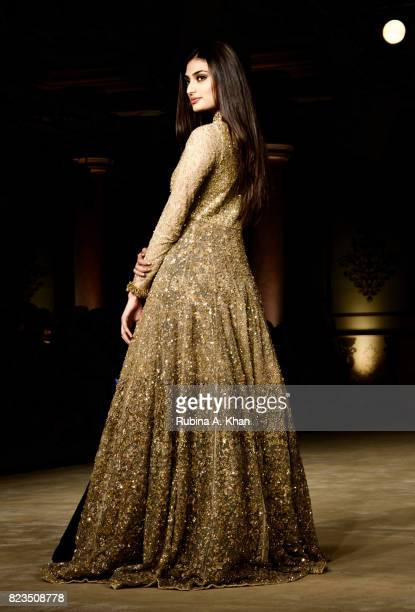 Athiya Shetty walks for Shyamal Bhumika during FDCI's India Couture Week 2017 at the Taj Palace hotel on July 26 2017 in New Delhi India