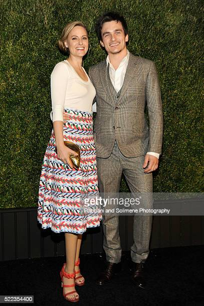 Athlete Aimee Mullins and actor Rupert Friend attends 11th Annual Chanel Tribeca Film Festival Artists Dinner at Balthazar on April 18 2016 in New...
