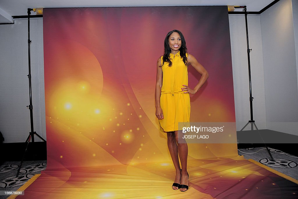US athlete Allyson Felix poses for photographers on November 23, 2012 in Barcelona on the eve of the IAAF (International Association of Athletics Federations) Athlete of the Year Award marking the centenay of IAAF. AFP PHOTO/ JOSEP LAGO
