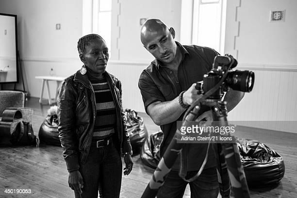 Athlete and HIV activist Evelina Tshabalala with 21 Icons photographer Adrian Steirn during Tshabalala's portrait shoot at the Roodebloem Studios on...