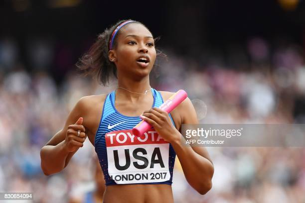 US athlete Ariana Washington finishes the anchor leg for the US team in the women's 4x100m relay athletics event at the 2017 IAAF World Championships...