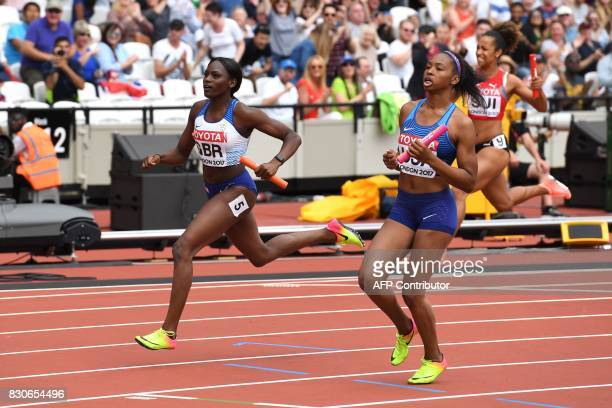 US athlete Ariana Washington finishes the anchor leg for the US team ahead of Britain's Daryll Neita in the women's 4x100m relay athletics event at...