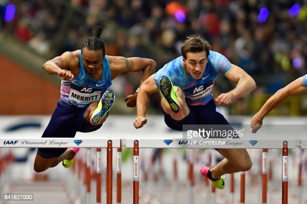 US athlete Aries Merritt and Russian athlete Sergey Shubenkov compete during the men's 110m hurdles race at the AG Insurance Memorial Van Damme...