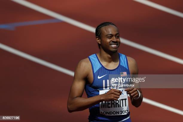US athlete Aries Merritt competes in the heats of the men's 110m hurdles athletics event at the 2017 IAAF World Championships at the London Stadium...