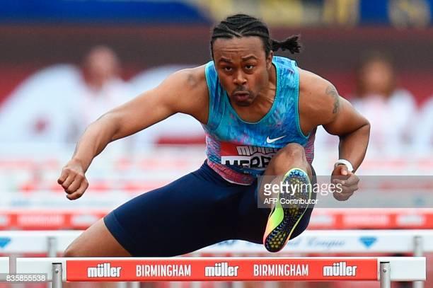 US athlete Aries Merritt competes in the men's 110m hurdles during the 2017 IAAF Birmingham Diamond League athletics meeting at Alexander Stadium in...