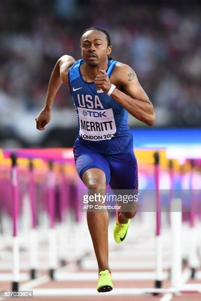 US athlete Aries Merritt competes in the semifinals of the men's 110m hurdles athletics event at the 2017 IAAF World Championships at the London...