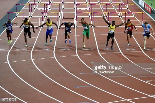 US athlete Aries Merritt Jamaica's Hansle Parchment Barbados' Shane Brathwaite France's Garfield Darien Hungary's Balázs Baji Jamaica's Omar Mcleod...