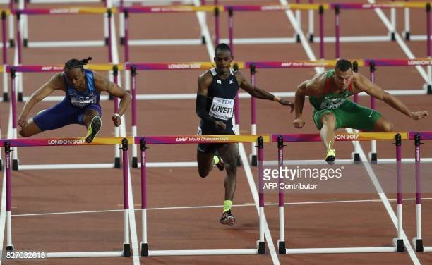 US athlete Aries Merritt Virgin Islands's Eddie Lovett and Hungary's Balázs Baji compete in the semifinals of the men's 110m hurdles athletics event...