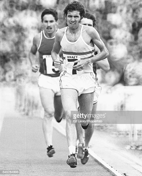 Athlete Brendan Foster leads the field during the 10000m race at the British Olympic trials in Crystal Palace London June 12th 1976