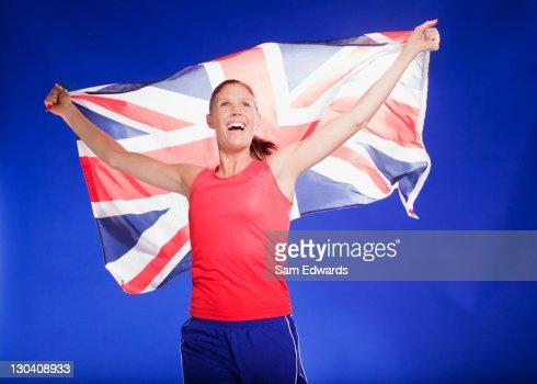 Athlete carrying Union Jack flag : Stock Photo