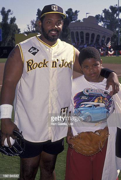 Athlete Cecil Fielder and son Prince Fielder attend Fifth Annual Rock N Jock Celebrity Baseball Game on January 15 1994 at Blair Field in Long Beach...