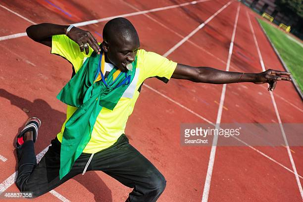 Athlete Celebrating Victory Making Bow Gesture