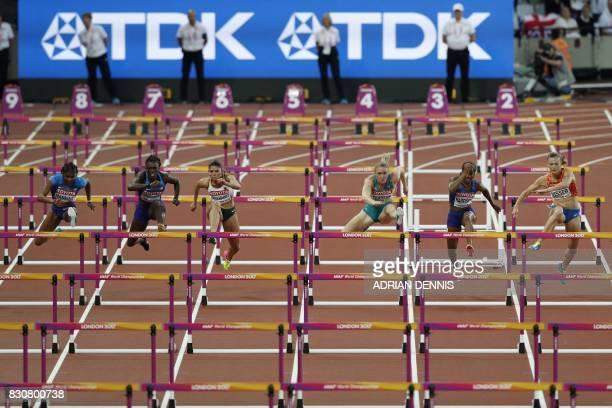 US athlete Christina Manning secondplaced US athlete Dawn Harper Nelson thirdplaced Germany's Pamela Dutkiewicz winner Australia's Sally Pearson US...