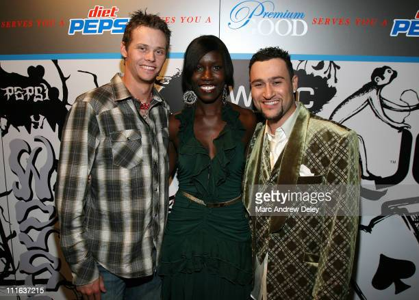 Athlete Clay Buckles of the Boston Red Sox Diet Pepsi Brand Manager Bozoma Saint John and local promoter Ace Gershfeld of 6one7 at the 'Diet Pepsi...