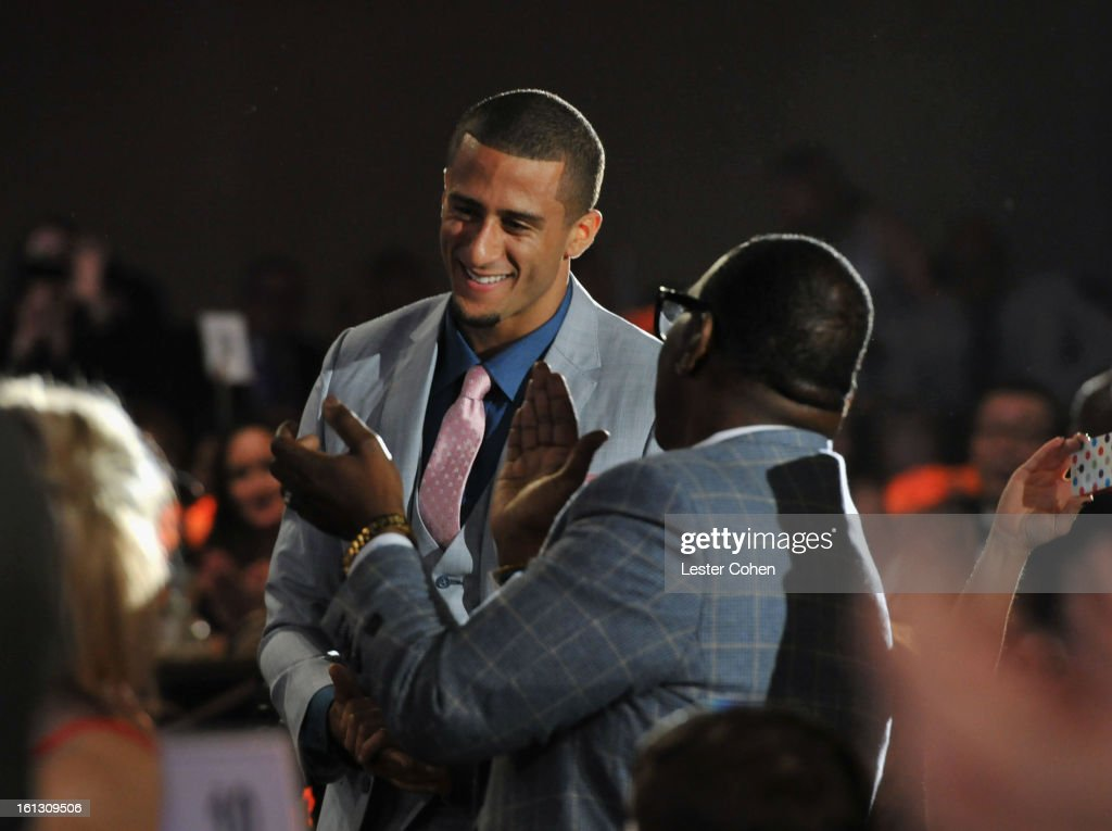 Athlete Colin Kaepernick and TV personality Randy Jackson attend the 55th Annual GRAMMY Awards Pre-GRAMMY Gala and Salute to Industry Icons honoring L.A. Reid held at The Beverly Hilton on February 9, 2013 in Los Angeles, California.