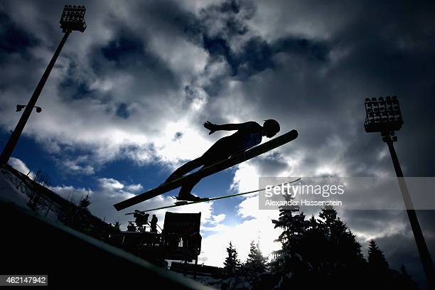 A athlete competes during day two of the Women Ski Jumping World Cup event at SchattenbergSchanze Erdinger Arena on January 25 2015 in Oberstdorf...