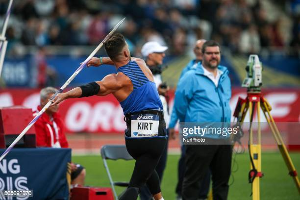 Athlete competes during the javeline vent within the International Association of Athletics Federations Diamond League in Paris France on July 01 2017