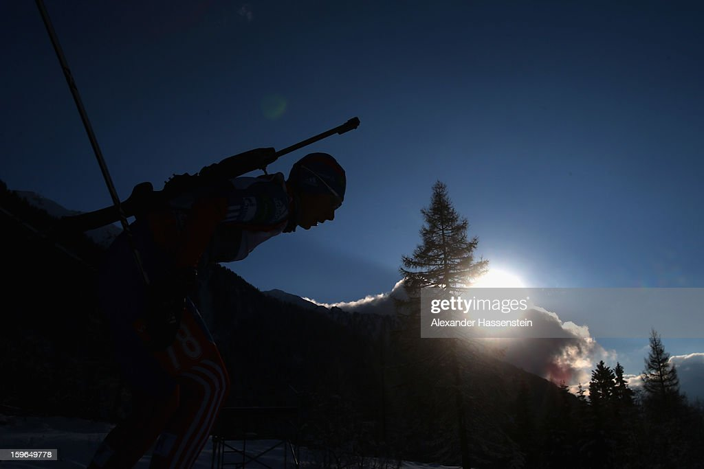Athlete competes in the women's 7,5km sprint event during the IBU Biathlon World Cup at Suedtirol Arena on January 17, 2013 in Antholz-Anterselva, Italy.