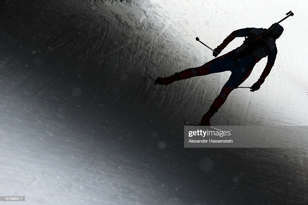 Athlete competes in the women's pursuit event during the IBU Biathlon World Cup on December 8, 2012 in Hochfilzen, Austria..