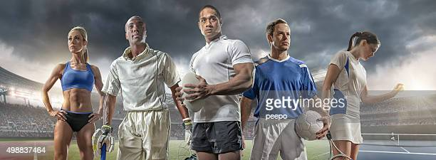 スポーツ、クリケット選手、ラグビー選手、フットボール選手とテニスプレーヤー