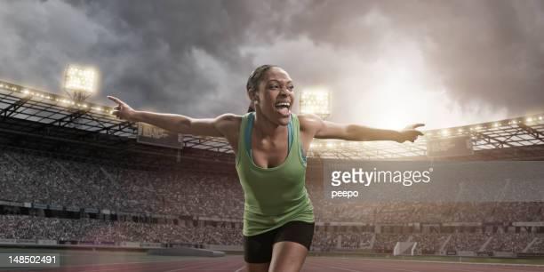 Athlete Crossing Finish Line