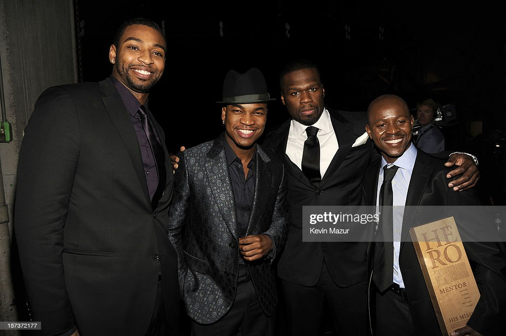 Athlete Cullen Jones, singer Ne-Yo, rapper 50 Cent (Curtis James Jackson III) and honoree Thulani Madondo of Kliptown Youth Program attend the CNN Heroes: An All Star Tribute at The Shrine Auditorium on December 2, 2012 in Los Angeles, California. 23046_005_KM_0127.JPG
