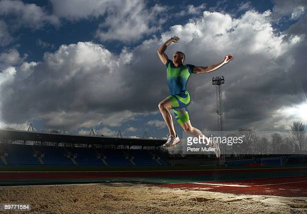 athlete doing long jump