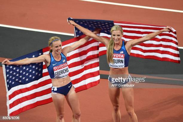 US athlete Emma Coburn and US athlete Courtney Frerichs celebrate with the US flag after winning the final of the women's 3000m steeplechase...