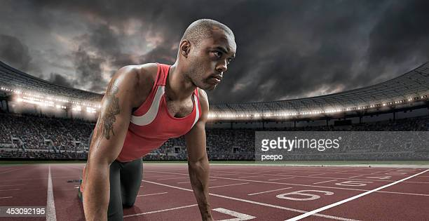 Athlete Focuses Before A Race