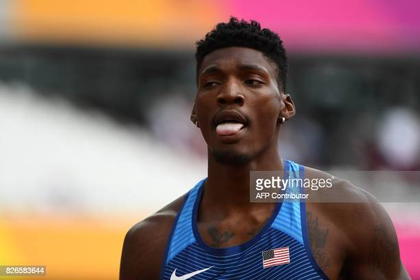 US athlete Fred Kerley reacts after the heats of the men's 400m athletics event at the 2017 IAAF World Championships at the London Stadium in London...