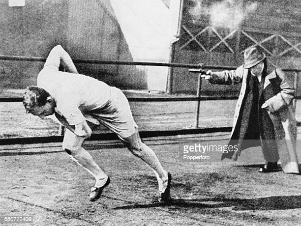 Athlete Harold Abrahams trains with his coach Sam Mussabini for the 100m event at the Olympic Games Paris 1924