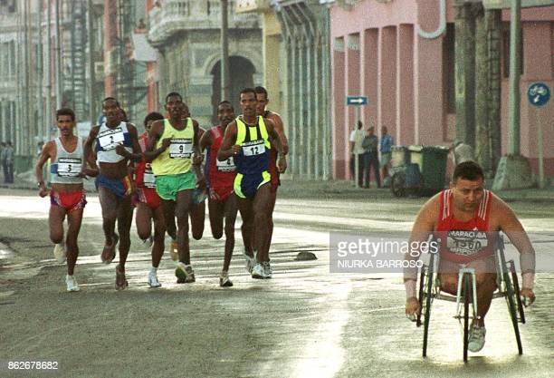 A athlete in a wheelchair participates in a 42 km marathon 'Maracuba 2000' that took place in La Habana Cuba 19 November 2000 More than 200 thousand...