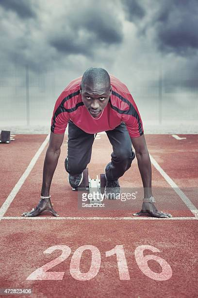 Athlete in the starting block for race