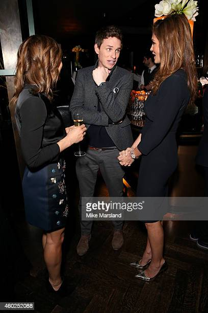 Athlete Jessica EnnisHill actor Eddie Redmayne and model Cindy Crawford attend the Omega Oxford Street Store Opening Party at The Shard on December...