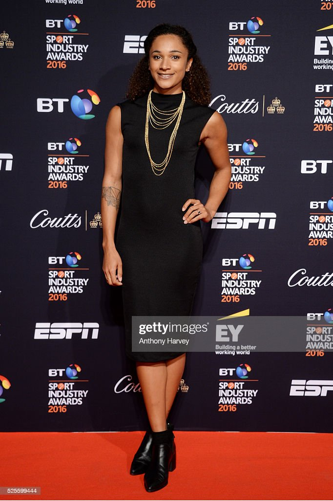 Athlete <a gi-track='captionPersonalityLinkClicked' href=/galleries/search?phrase=Jodie+Williams+-+Sprinter&family=editorial&specificpeople=5964402 ng-click='$event.stopPropagation()'>Jodie Williams</a> poses on the red carpet at the BT Sport Industry Awards 2016 at Battersea Evolution on April 28, 2016 in London, England. The BT Sport Industry Awards is the most prestigious commercial sports awards ceremony in Europe, where over 1750 of the industry's key decision-makers mix with high profile sporting celebrities for the most important networking occasion in the sport business calendar.