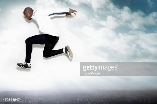 athlete jumping into the sky