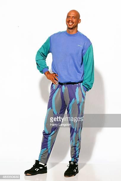 Athlete Kareem AbdulJabbar poses for a portrait in 1985 in Los Angeles California