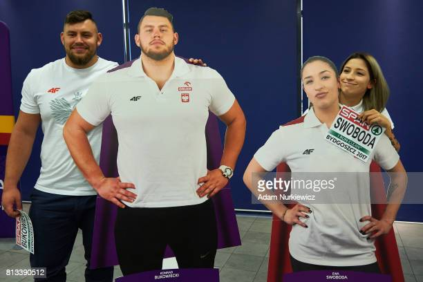 Athlete Konrad Bukowiecki and athlete Ewa Swoboda both from Poland pose to the picture while the press conference one day before European Athletics...